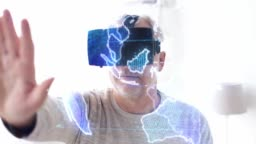 senior man in vr headset with earth projection