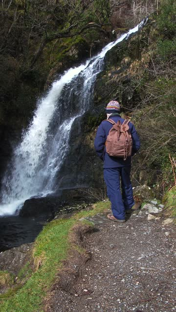 senior man looking at a waterfall on a spring day - johnfscott stock videos & royalty-free footage