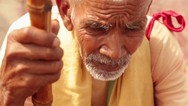 senior man looking sad, haridwar, uttarakhand, india - sad old asian man stock videos & royalty-free footage