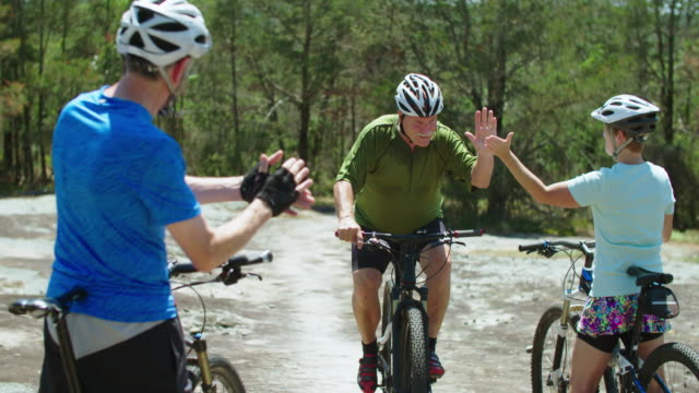 senior man on mountain bike - sportsperson stock videos & royalty-free footage