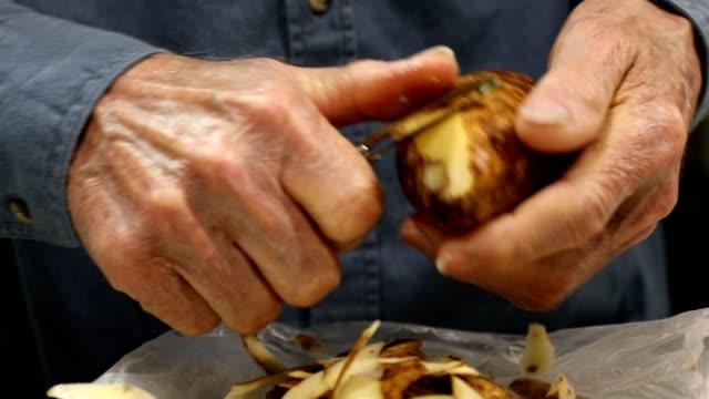 senior man skalar färsk potatis med en potatisskalare. - skal plantdel bildbanksvideor och videomaterial från bakom kulisserna