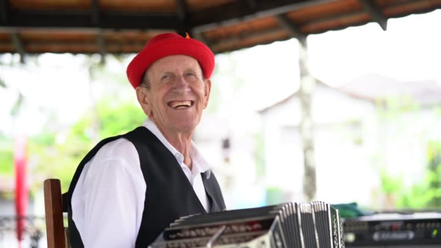 senior man playing accordion - bavaria stock videos & royalty-free footage