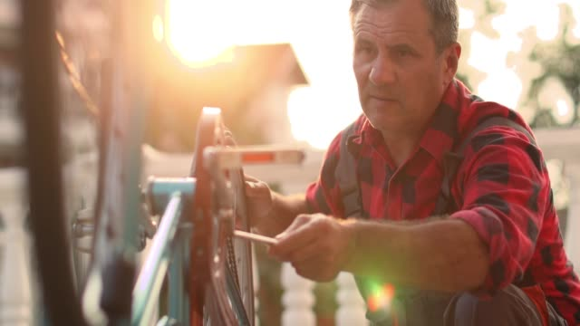 senior man serviced bikes - hobbies stock videos & royalty-free footage