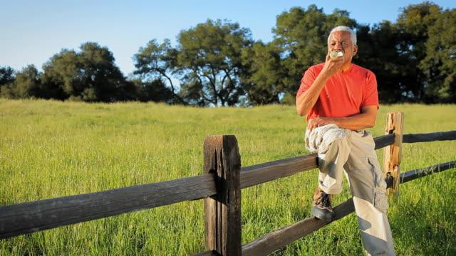 vídeos de stock, filmes e b-roll de ws senior man sitting on fence on grassy field and eating apple / los angeles, california, usa - cerca