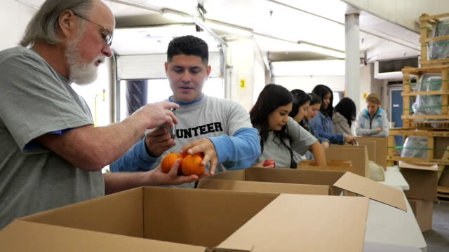 stockvideo's en b-roll-footage met senior man sorting donation boxes with diverse group of food bank volunteers - schenking