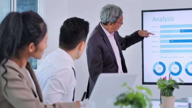 senior man team leader presenting project strategy showing ideas on digital interactive whiteboard in office presentation diverse colleagues enjoying training seminar.business,people,success,leadership,teamwork,high-tech meetings and technology concept - interactive whiteboard stock videos & royalty-free footage