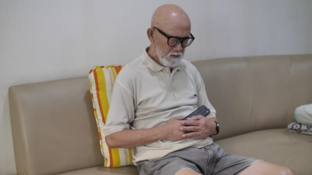 senior man usually suffer from stomachache - one senior man only stock videos & royalty-free footage