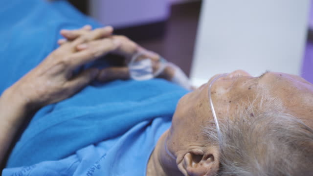senior man with iv drip in hospital bed - ward stock videos & royalty-free footage