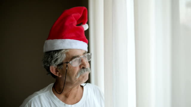 senior man with santa claus hat - mustache stock videos and b-roll footage