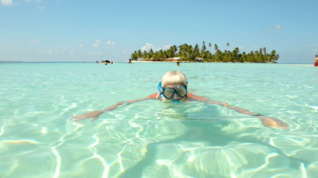 senior man with scuba mask - idyllic stock videos & royalty-free footage