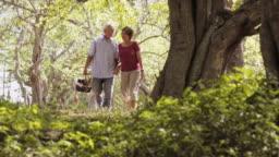 Senior Man Woman Old Couple Doing Picnic