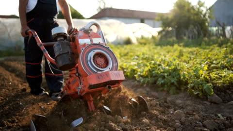 vídeos y material grabado en eventos de stock de senior hombre trabajando con cultivador - arar