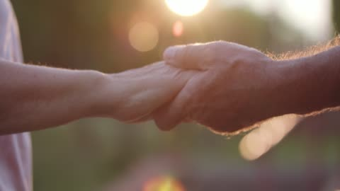 senior marred couple having a loving moment and holding hands - husband stock videos & royalty-free footage