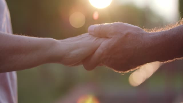 senior marred couple having a loving moment and holding hands - married stock videos & royalty-free footage