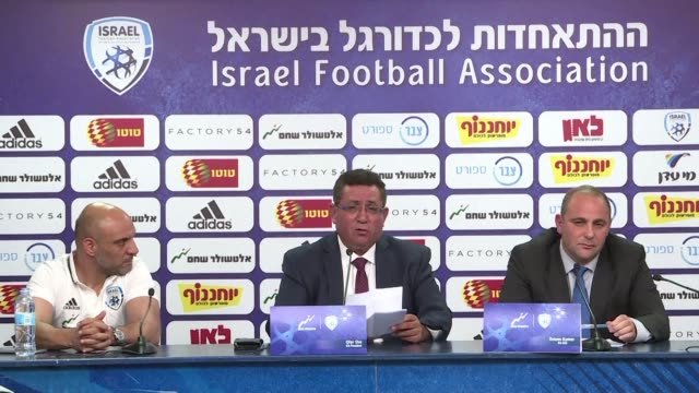 Senior members of the Israel Football Association give a press conference in Ramat Gan to discuss the cancellation of a friendly match between Israel...