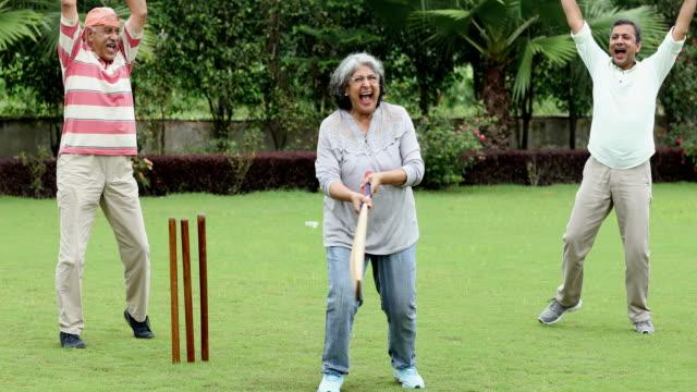 senior men and senior woman playing cricket, delhi, india - fun stock videos & royalty-free footage