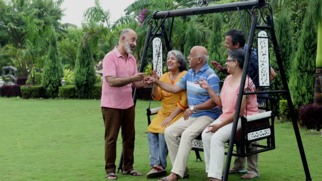 vídeos y material grabado en eventos de stock de senior men and senior women enjoying in the park, delhi, india - camisa de polo