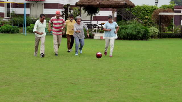 stockvideo's en b-roll-footage met senior men and senior women playing soccer, delhi, india - bal