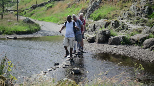 senior men crossing river stepping stones - lakeshore stock videos & royalty-free footage