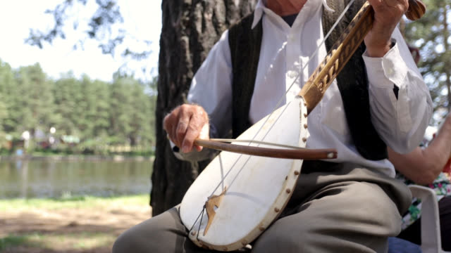 senior musician playing gusle - eastern european culture stock videos & royalty-free footage