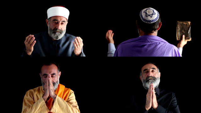 stockvideo's en b-roll-footage met senior muslim, christian,jewish and buddhist men praying - buddhism
