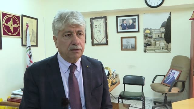 senior palestine liberation organisation official ahmed majdalani reacts after israel said its security cabinet decided to withhold $138 million in... - palestine liberation organisation stock videos & royalty-free footage
