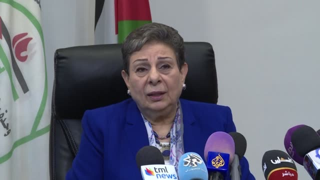 senior palestinian official hanan ashrawi holds a press conference in the headquarters of the palestine liberation organization in ramallah whereby... - palestine liberation organisation stock videos & royalty-free footage