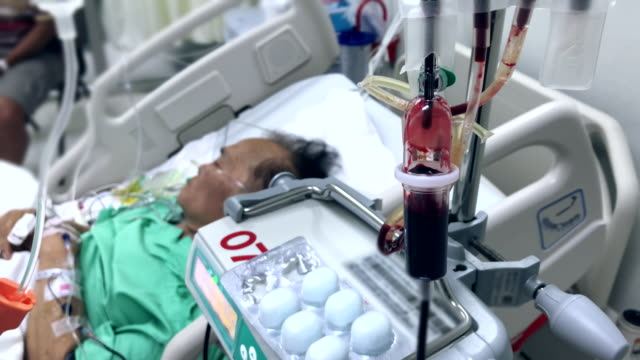senior patient was given blood in hospital - ward stock videos & royalty-free footage