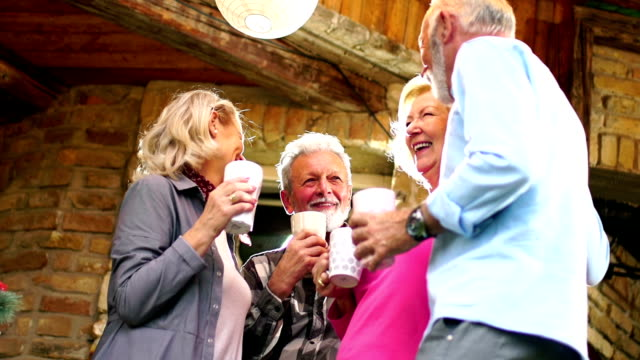 senior people having a backyard party. - city break stock videos & royalty-free footage