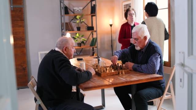 senior people in nursing home - board game stock videos & royalty-free footage