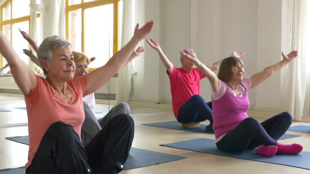 senior people practicing yoga in class - terza età video stock e b–roll