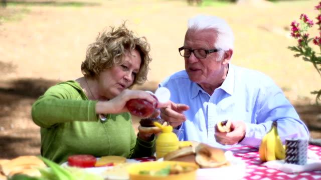 シニアのピクニック - ホットドッグ点の映像素材/bロール
