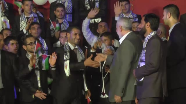 Senior Political Leader of Hamas Ismail Haniyeh attends a mass wedding ceremony in Beit Lahia city of Gaza on July 20 2016