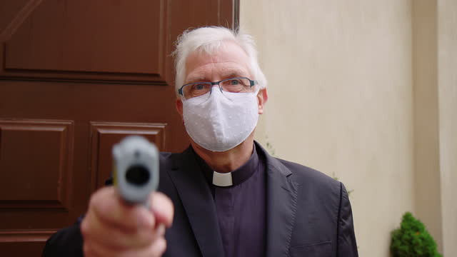 senior priest at body temperature checkpoint - pastor stock videos & royalty-free footage