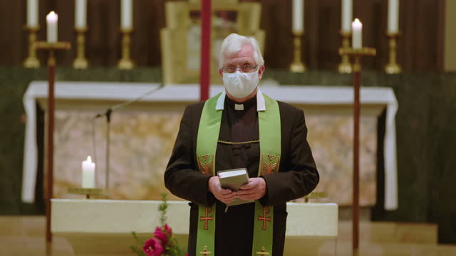 senior priest preaching in cathedral - pastor stock videos & royalty-free footage