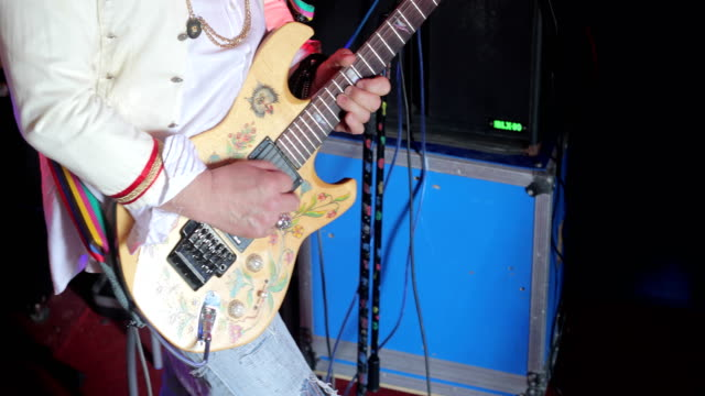 senior rock musician playing electric guitar - customised stock videos & royalty-free footage