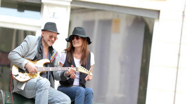 senior street performers in italian city - rock musician stock videos & royalty-free footage