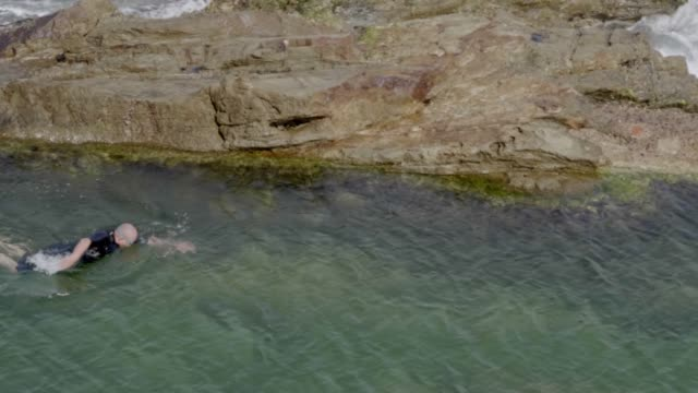 vídeos de stock, filmes e b-roll de senior swimming - fígado humano