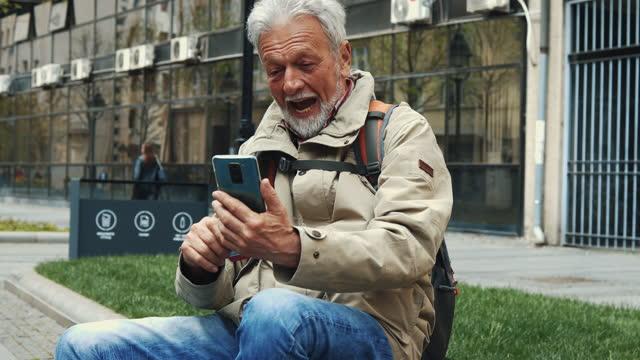 senior tourist man in european city - history stock videos & royalty-free footage