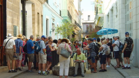 senior tourists gather at a colonial-style quadrangle in old havana, cuba - exploration stock-videos und b-roll-filmmaterial
