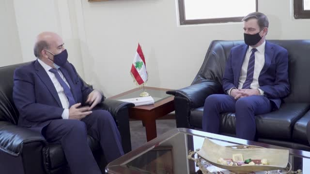 senior us state department official david hale meets with lebanon's caretaker foreign minister charbel wehbe at the lebanese foreign ministry in... - politician stock videos & royalty-free footage