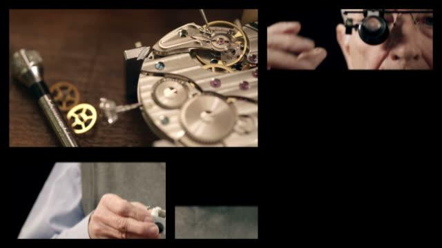 Senior watchmaker assembling watch (Splitscreen)