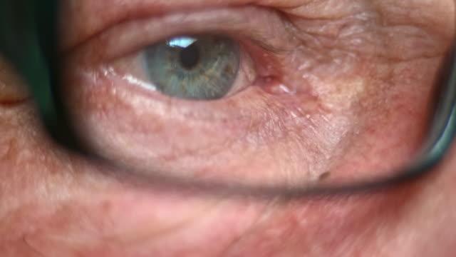 TU ECU Senior with blue eyes looking through glasses