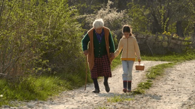 senior woman and child walking down the road. holding hands. - assistance stock videos & royalty-free footage