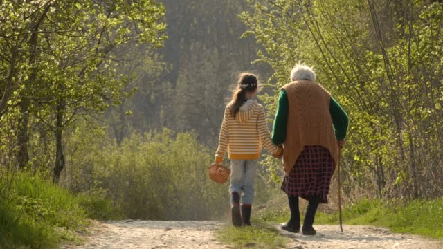 senior woman and child walking down the road. holding hands. - a helping hand stock videos & royalty-free footage
