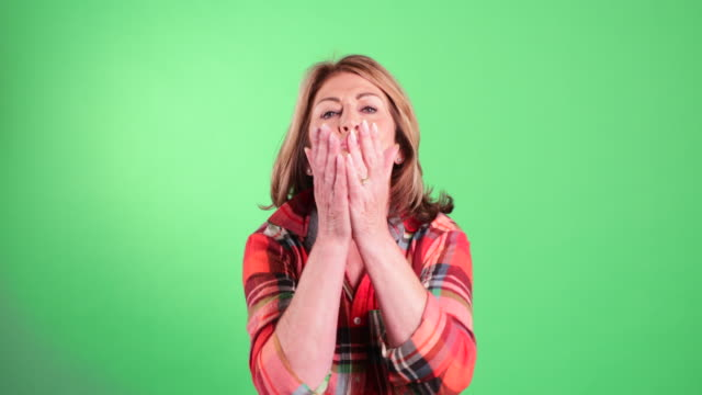 senior woman blows kisses - plaid shirt stock videos & royalty-free footage