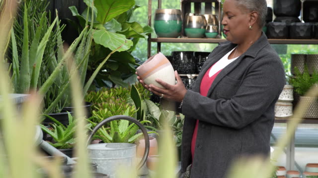 senior woman checking on pots in a greenhouse - whidbey island shop stock videos and b-roll footage
