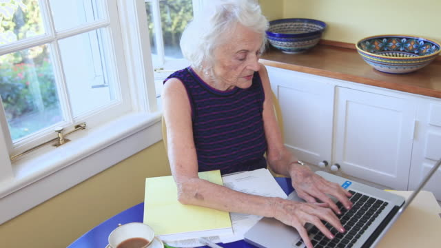 ms senior woman doing paperwork and typing on laptop / portland, oregon, usa - over 80 stock videos & royalty-free footage