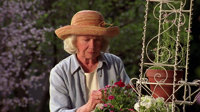 A senior woman examines a rack of potted plants on an outdoor rack.