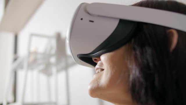 senior woman excited in virtual reality - schizophrenia stock videos & royalty-free footage